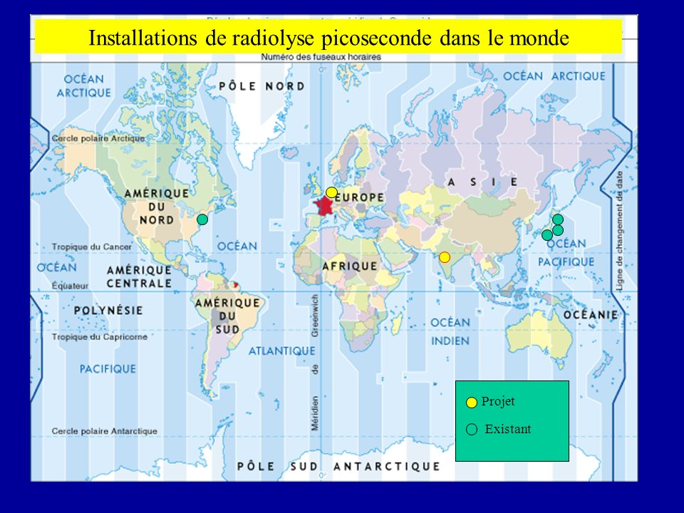 Installations de radiolyse picoseconde dans le monde