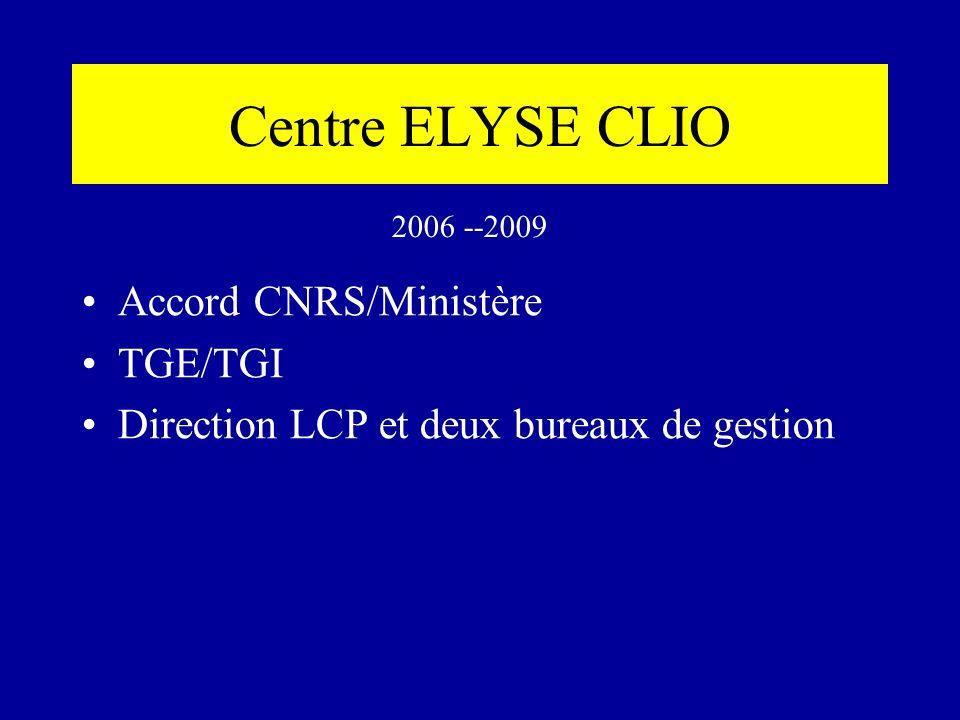 Centre ELYSE CLIO Accord CNRS/Ministère TGE/TGI