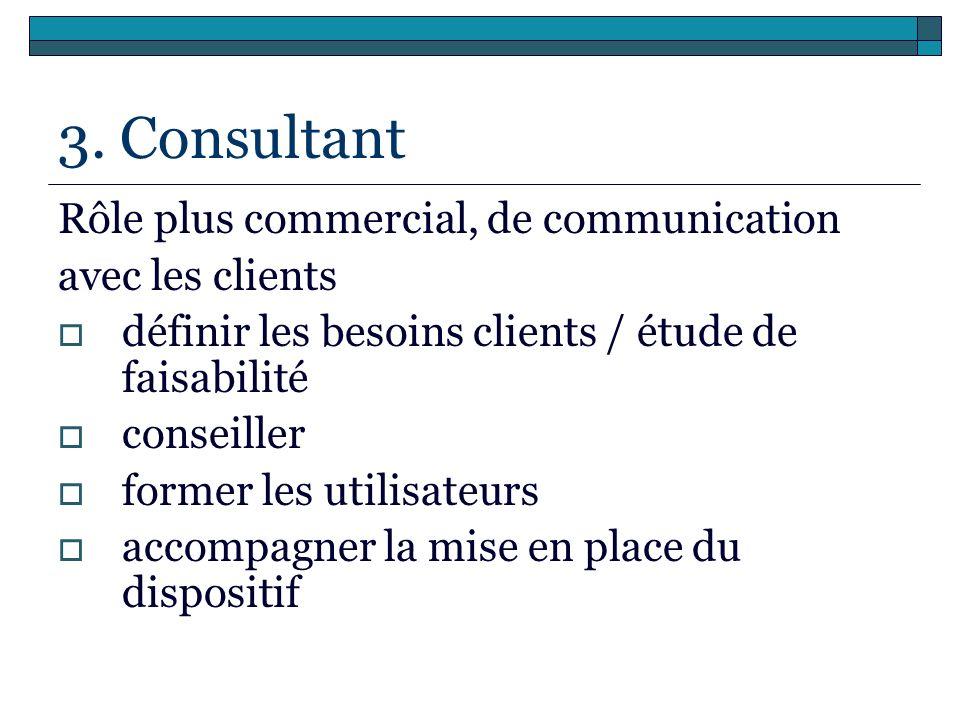 3. Consultant Rôle plus commercial, de communication avec les clients
