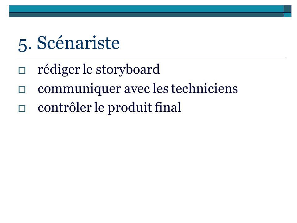 5. Scénariste rédiger le storyboard communiquer avec les techniciens