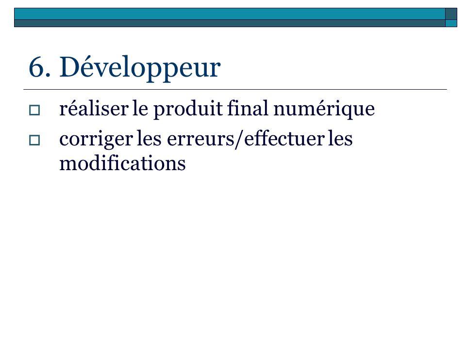 6. Développeur réaliser le produit final numérique
