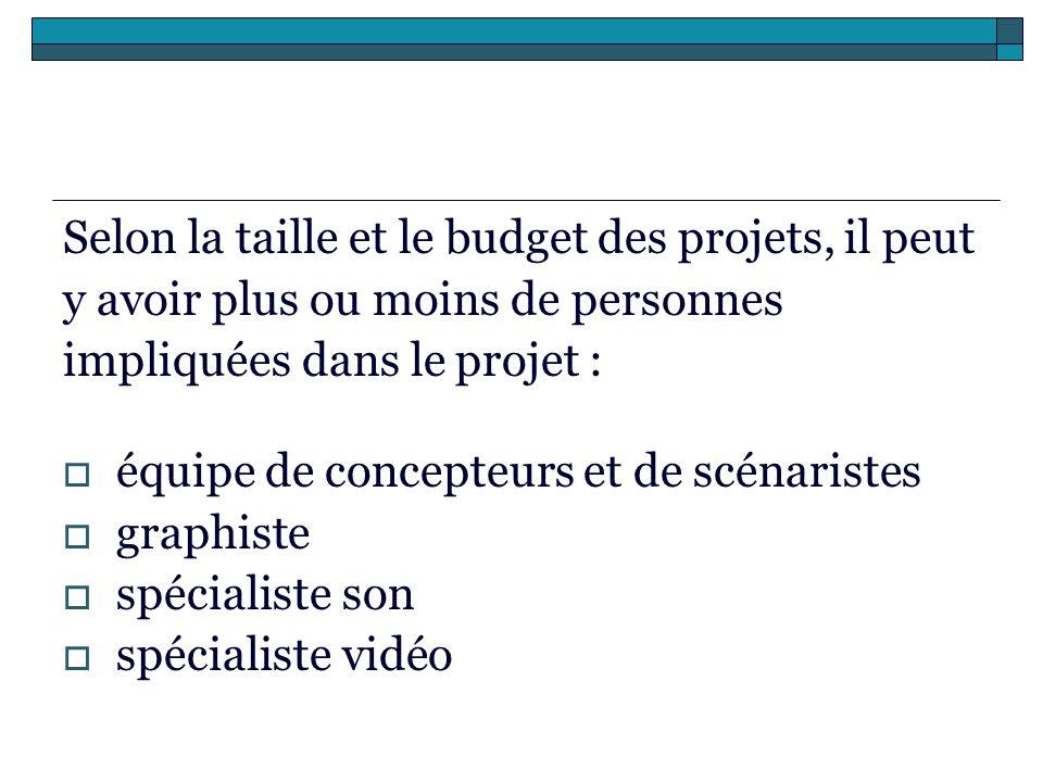 Selon la taille et le budget des projets, il peut