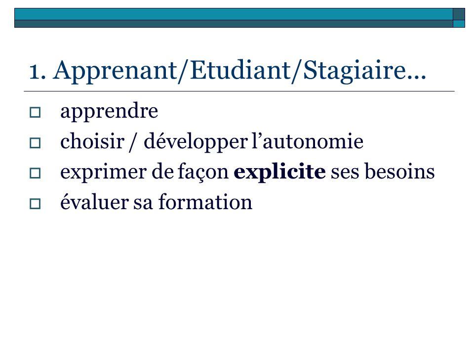 1. Apprenant/Etudiant/Stagiaire...