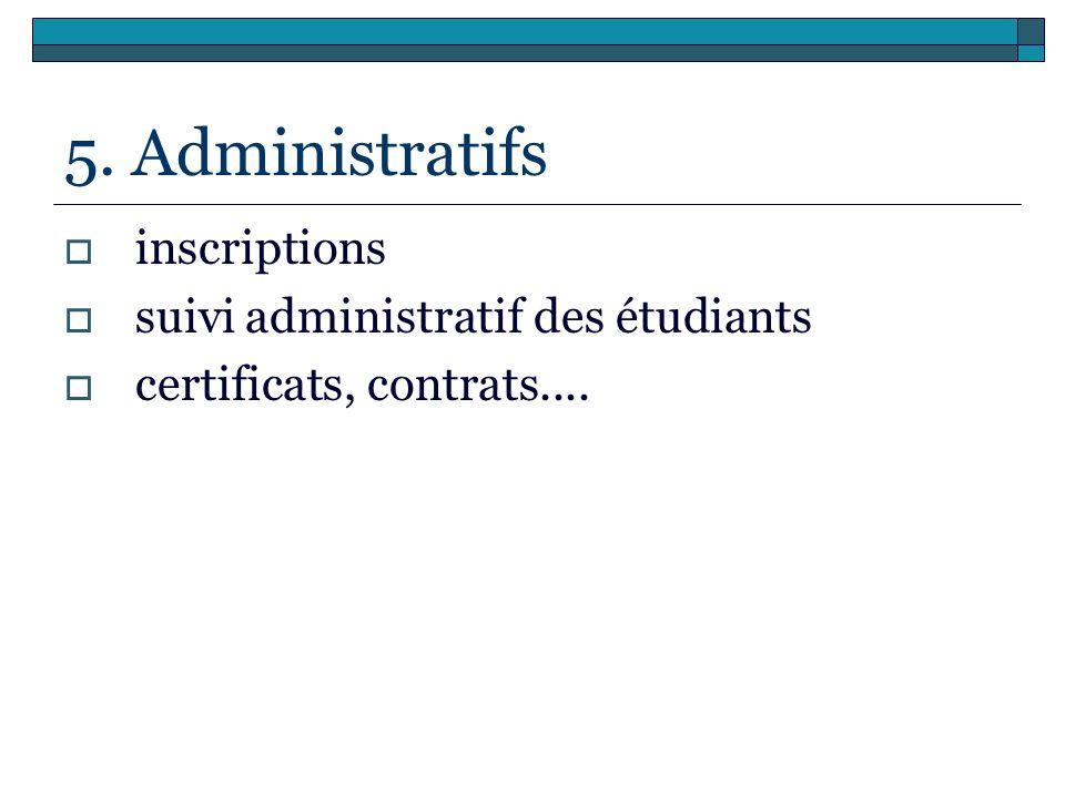 5. Administratifs inscriptions suivi administratif des étudiants