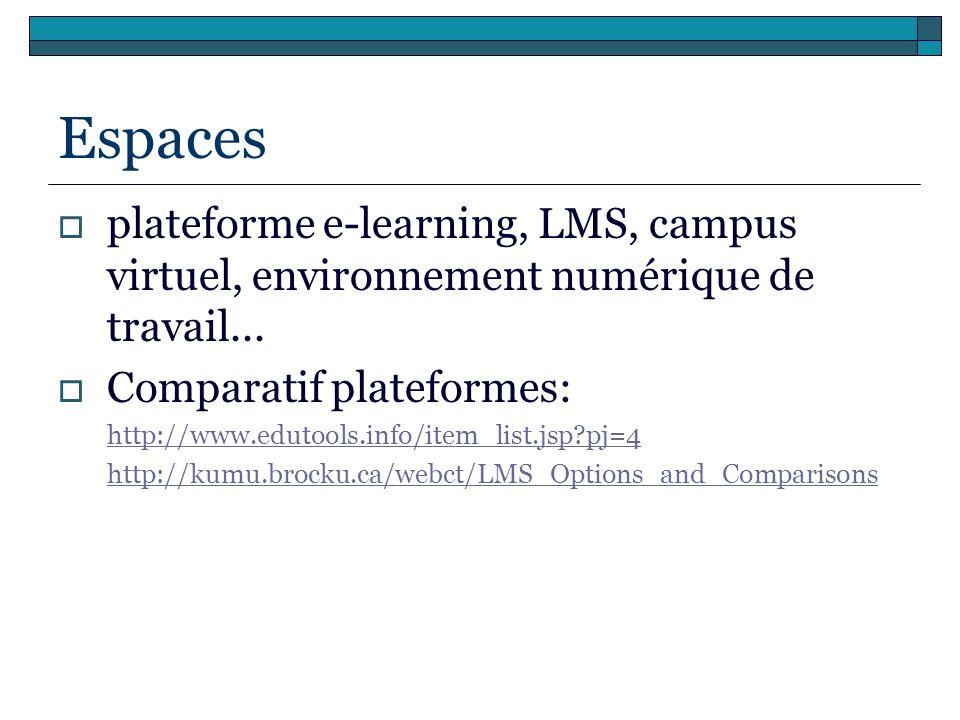 Espaces plateforme e-learning, LMS, campus virtuel, environnement numérique de travail... Comparatif plateformes: