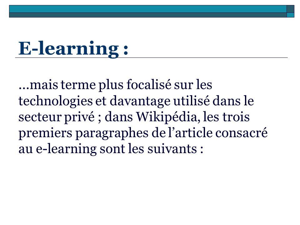 E-learning :