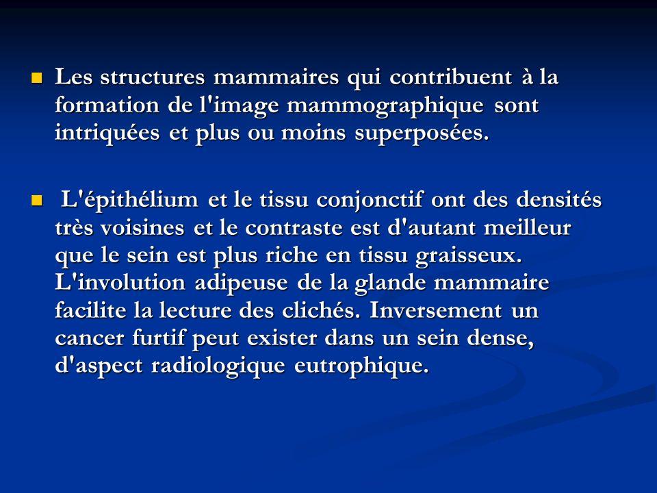 Les structures mammaires qui contribuent à la formation de l image mammographique sont intriquées et plus ou moins superposées.