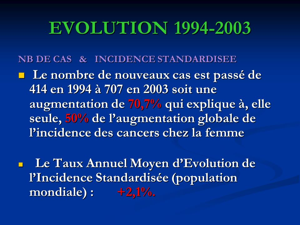 EVOLUTION 1994-2003 NB DE CAS & INCIDENCE STANDARDISEE.