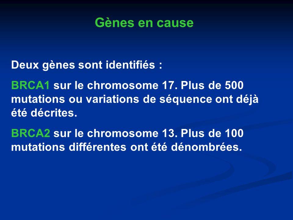 Gènes en cause Deux gènes sont identifiés :