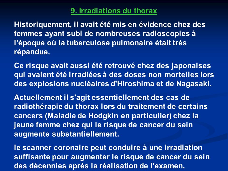 9. Irradiations du thorax