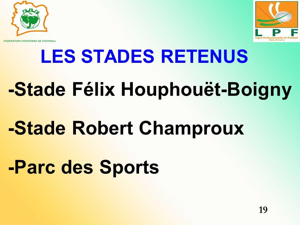 -Stade Félix Houphouët-Boigny -Stade Robert Champroux -Parc des Sports