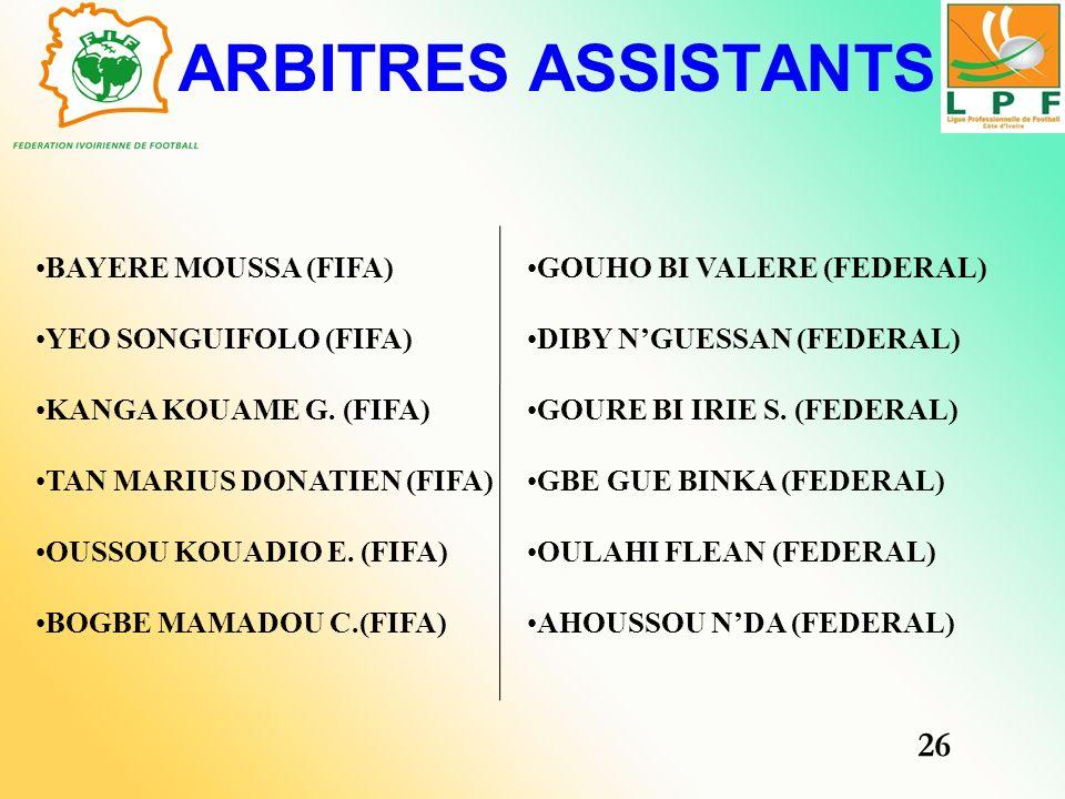 ARBITRES ASSISTANTS 26 BAYERE MOUSSA (FIFA) YEO SONGUIFOLO (FIFA)