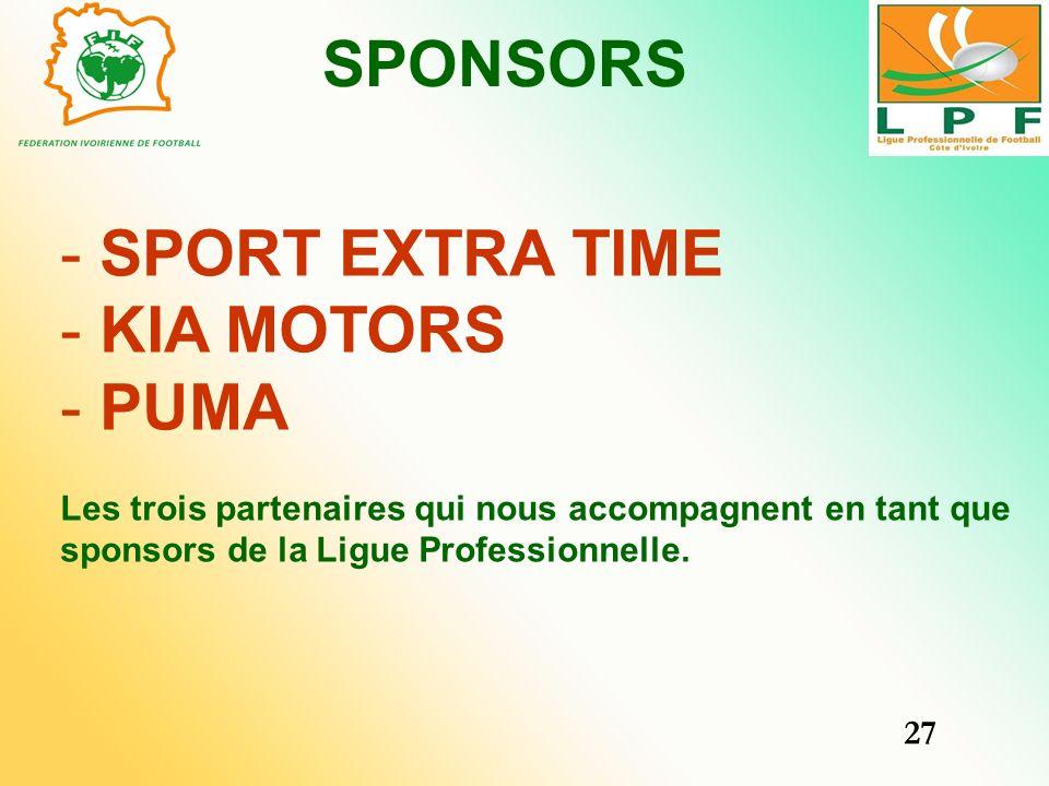 SPONSORS SPORT EXTRA TIME KIA MOTORS PUMA