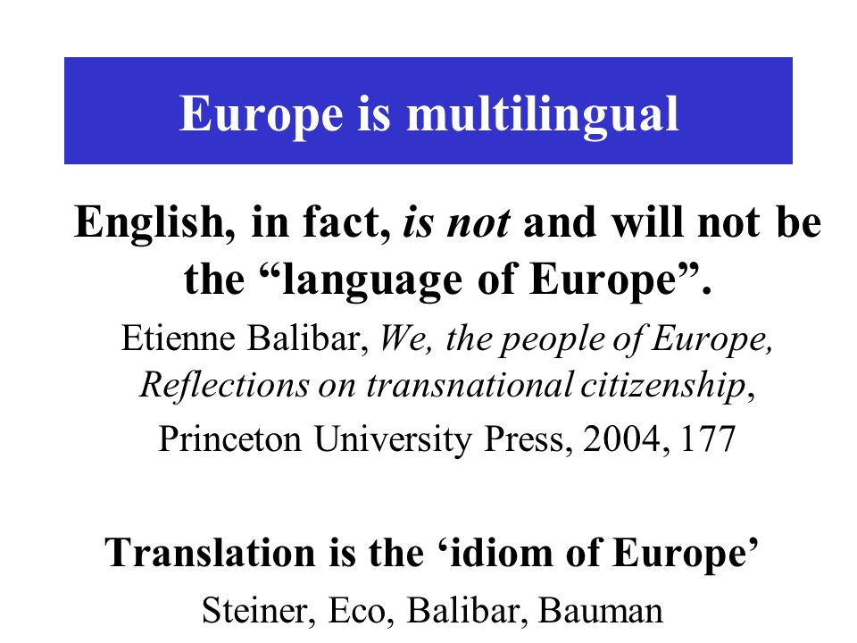Europe is multilingual