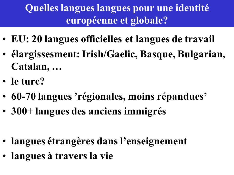 Quelles langues langues pour une identité européenne et globale