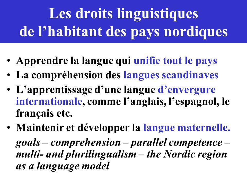 Les droits linguistiques de l'habitant des pays nordiques