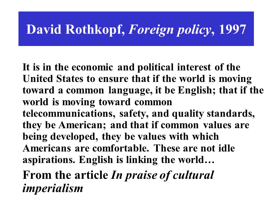 David Rothkopf, Foreign policy, 1997