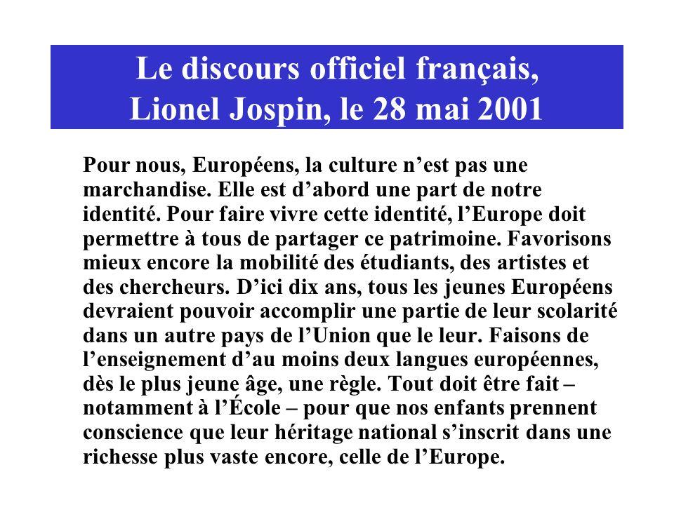 Le discours officiel français, Lionel Jospin, le 28 mai 2001