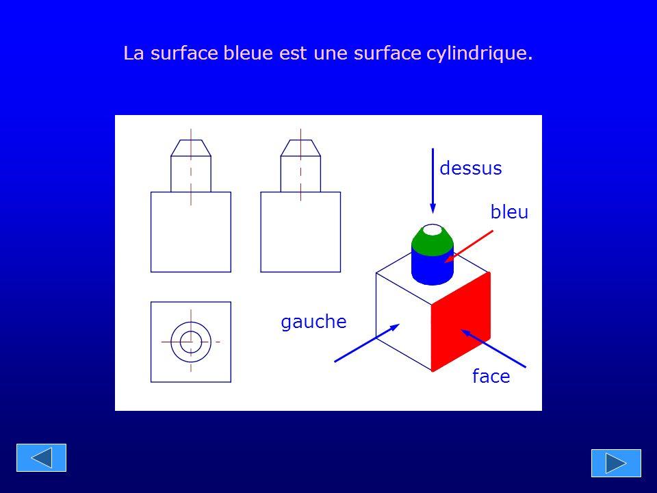 La surface bleue est une surface cylindrique.