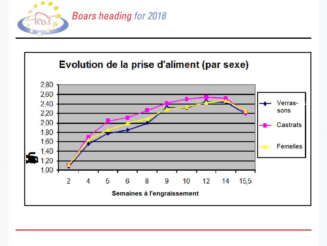 Evolution de la prise dáliment (par sexe) verloopt nagenoeg gelijk tussen verrassons, castrats et femelles. (Voeropname per sexe..)