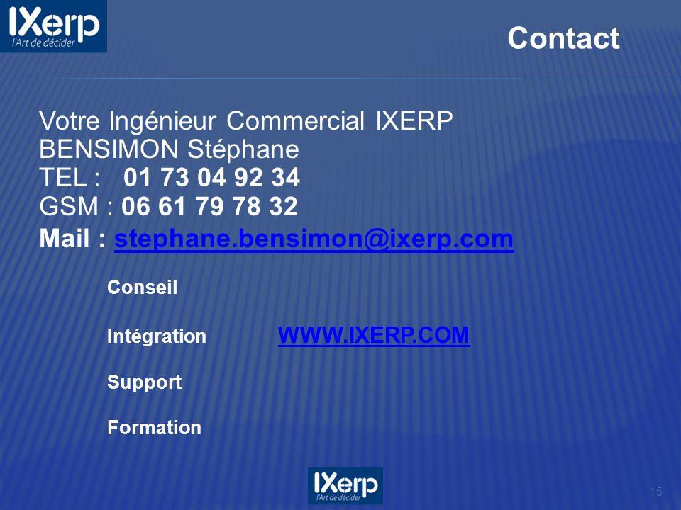 Contact Votre Ingénieur Commercial IXERP BENSIMON Stéphane