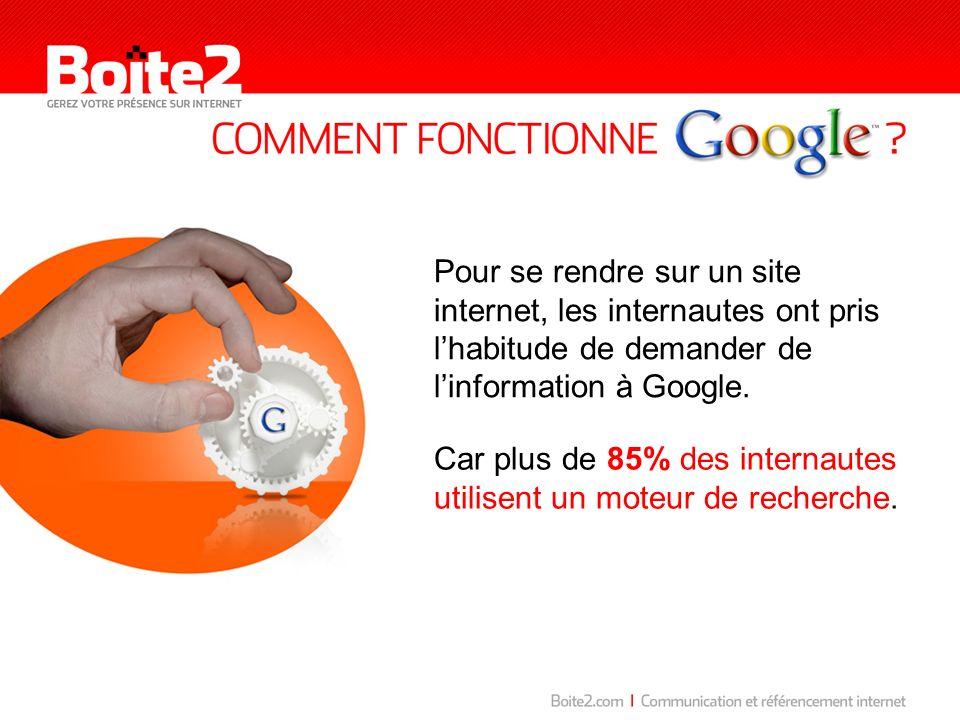 Pour se rendre sur un site internet, les internautes ont pris l'habitude de demander de l'information à Google.
