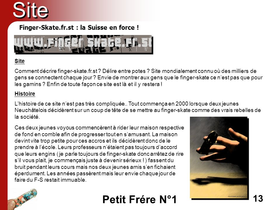 Site Finger-Skate.fr.st : la Suisse en force ! Site