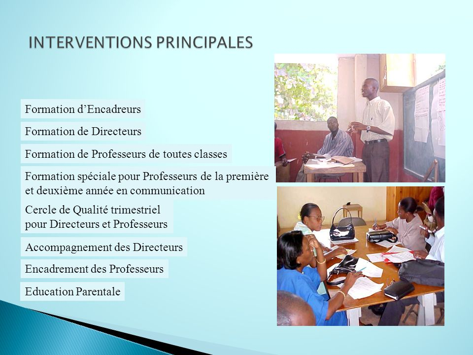 INTERVENTIONS PRINCIPALES