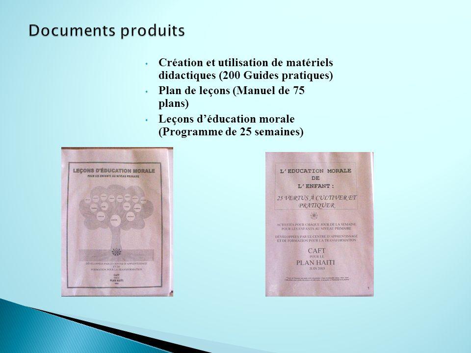 Documents produits Création et utilisation de matériels didactiques (200 Guides pratiques) Plan de leçons (Manuel de 75 plans)