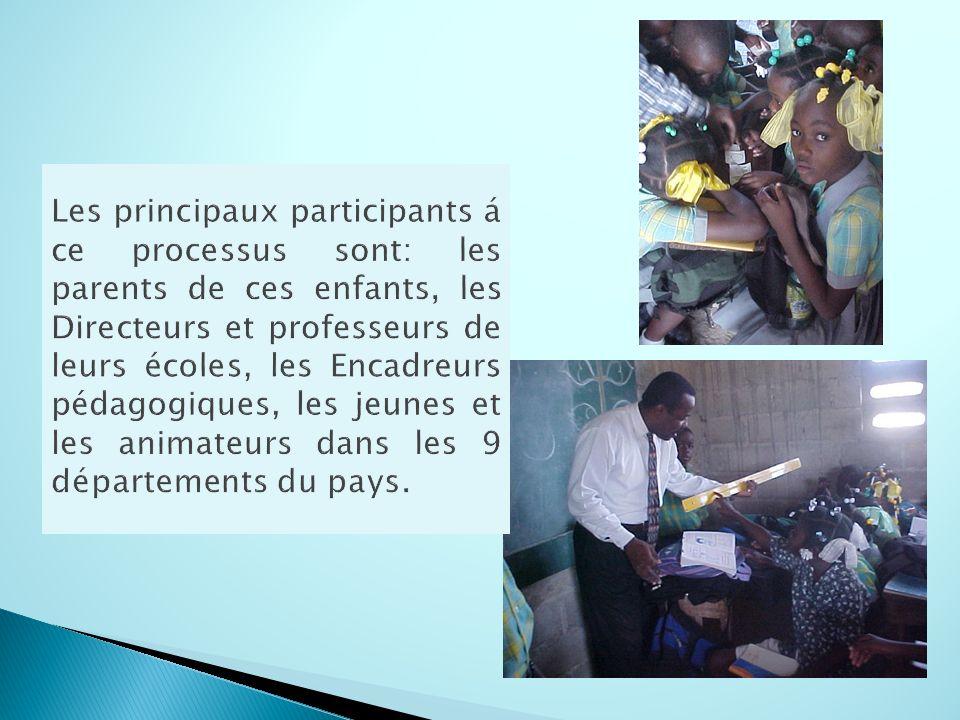 Les principaux participants á ce processus sont: les parents de ces enfants, les Directeurs et professeurs de leurs écoles, les Encadreurs pédagogiques, les jeunes et les animateurs dans les 9 départements du pays.