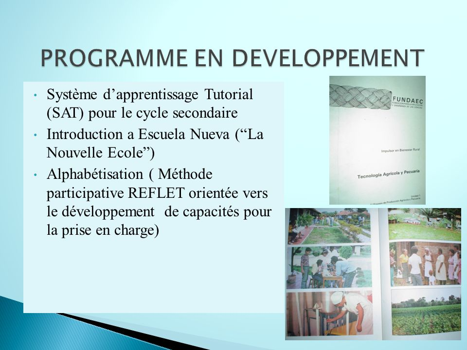 PROGRAMME EN DEVELOPPEMENT