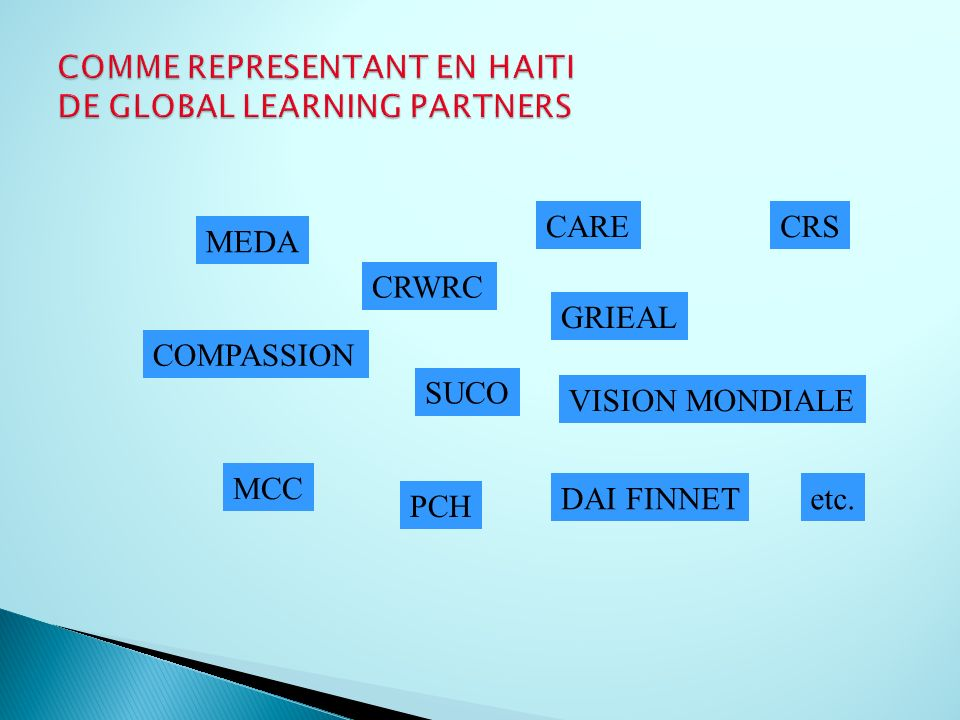 COMME REPRESENTANT EN HAITI DE GLOBAL LEARNING PARTNERS
