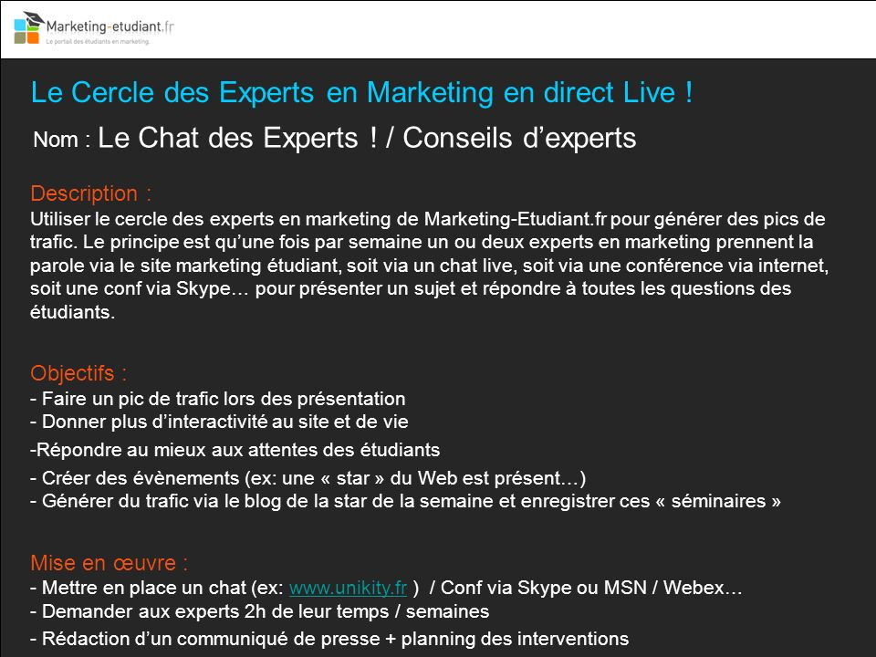 Le Cercle des Experts en Marketing en direct Live !