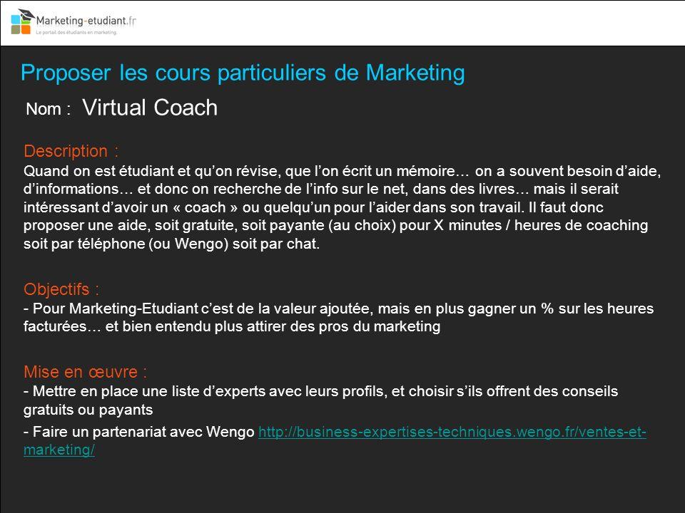 Proposer les cours particuliers de Marketing
