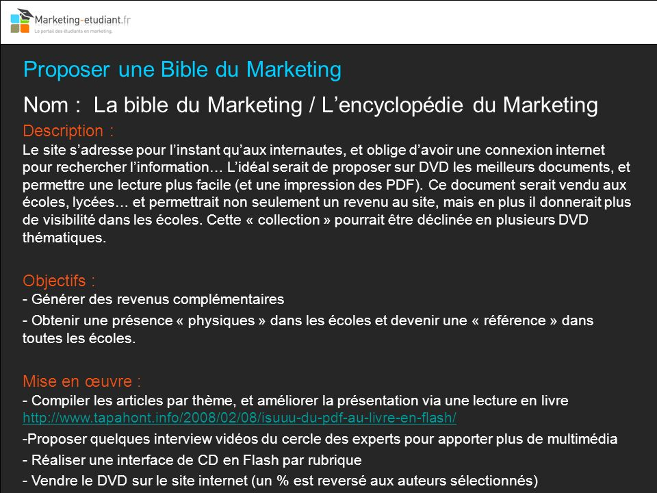 Proposer une Bible du Marketing