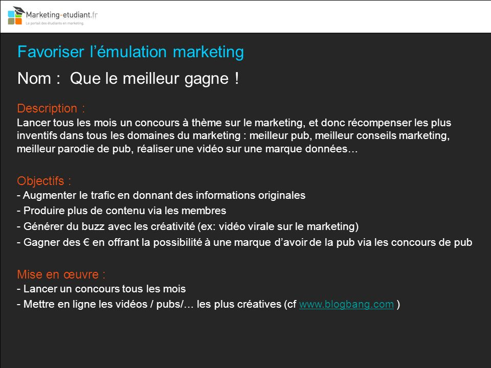 Favoriser l'émulation marketing
