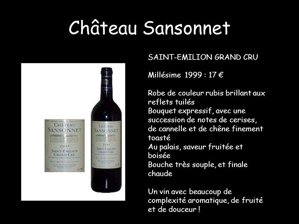 Château Sansonnet SAINT-EMILION GRAND CRU Millésime 1999 : 17 €