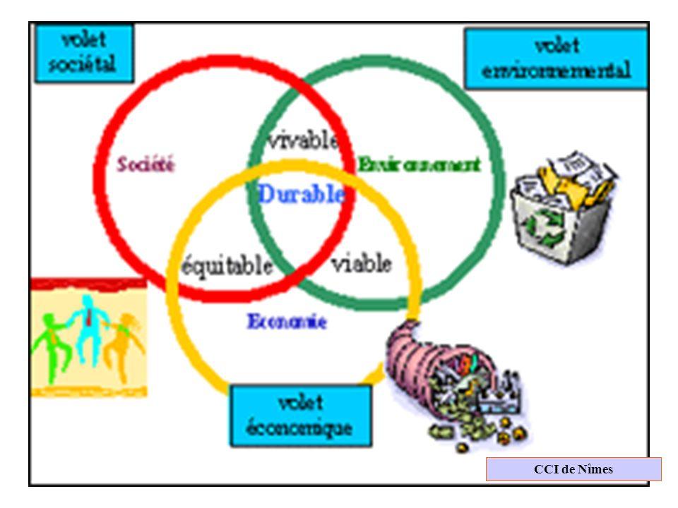 Cci nimesLes icônes sont parlantes : Environnement = recyclage du papier, Economie = argent (beaucoup !) et la société = des enfants qui dansent…