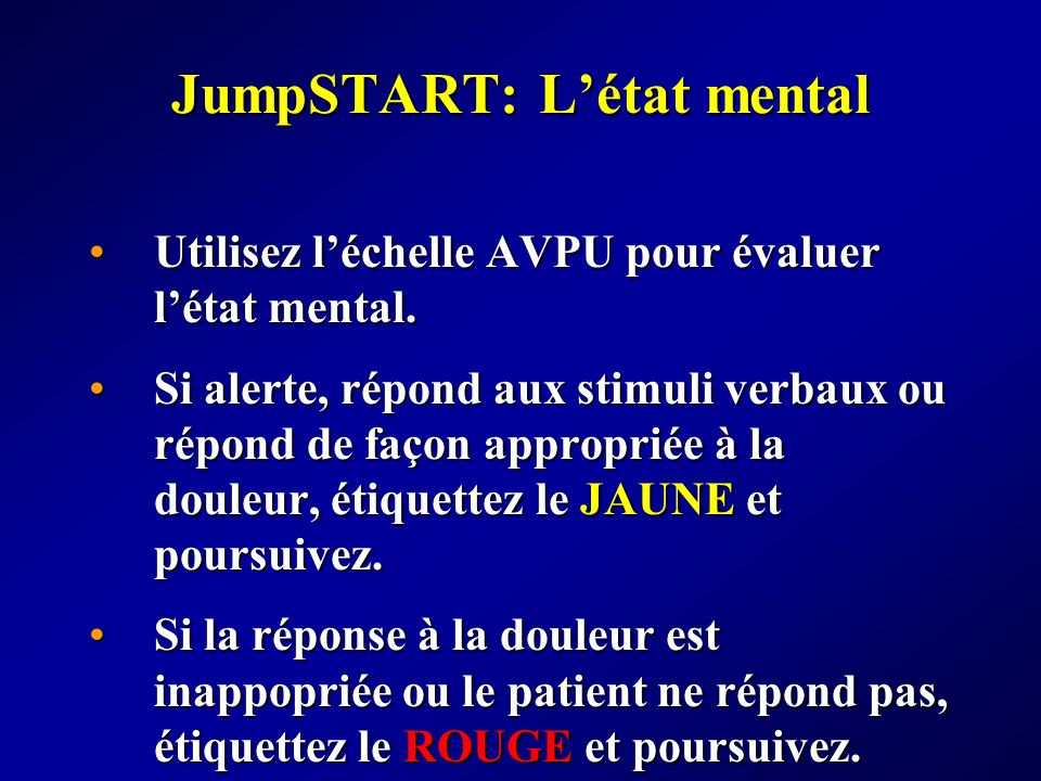 JumpSTART: L'état mental