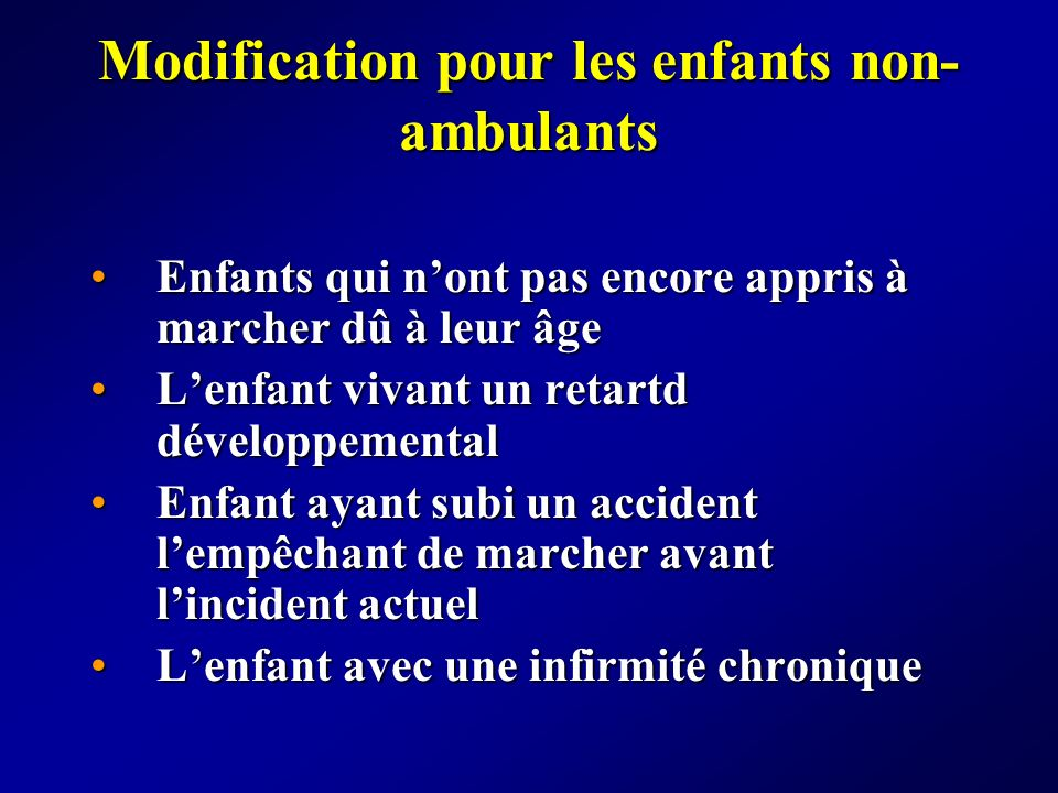 Modification pour les enfants non-ambulants