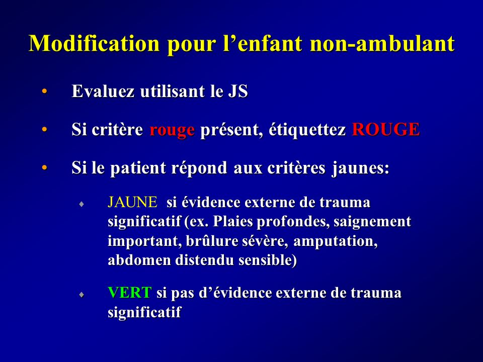 Modification pour l'enfant non-ambulant