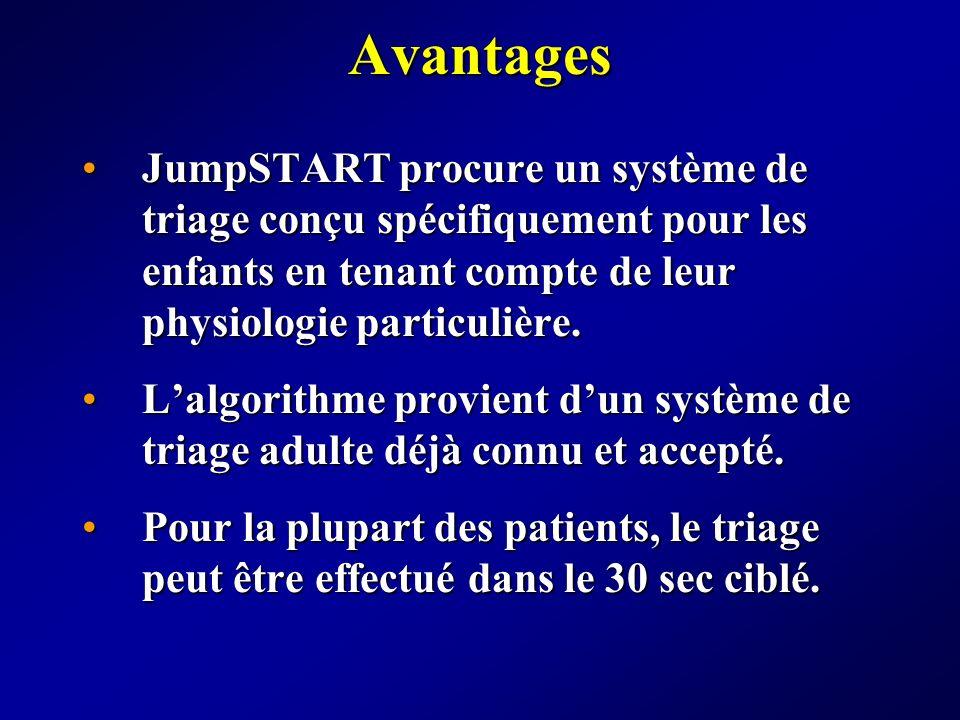 Avantages JumpSTART procure un système de triage conçu spécifiquement pour les enfants en tenant compte de leur physiologie particulière.
