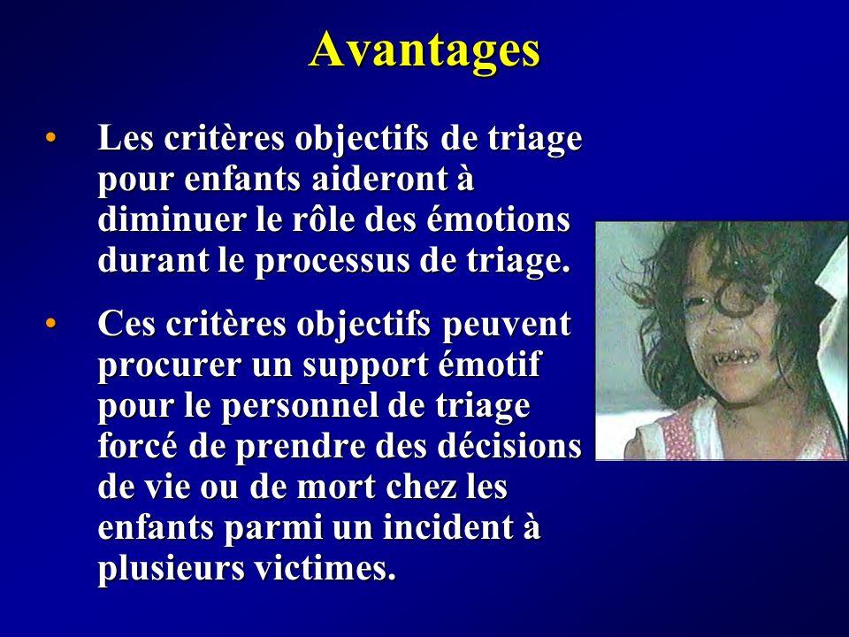 Avantages Les critères objectifs de triage pour enfants aideront à diminuer le rôle des émotions durant le processus de triage.