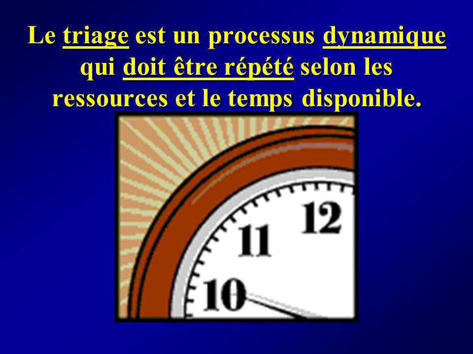Le triage est un processus dynamique qui doit être répété selon les ressources et le temps disponible.