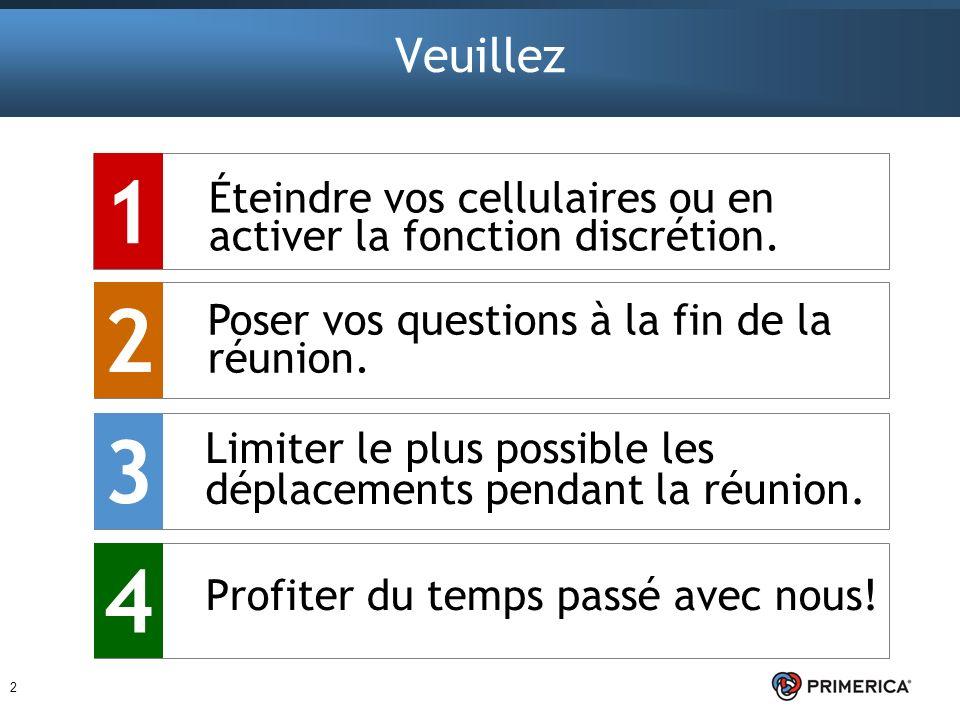 Veuillez 1. Éteindre vos cellulaires ou en activer la fonction discrétion. 2. Poser vos questions à la fin de la réunion.