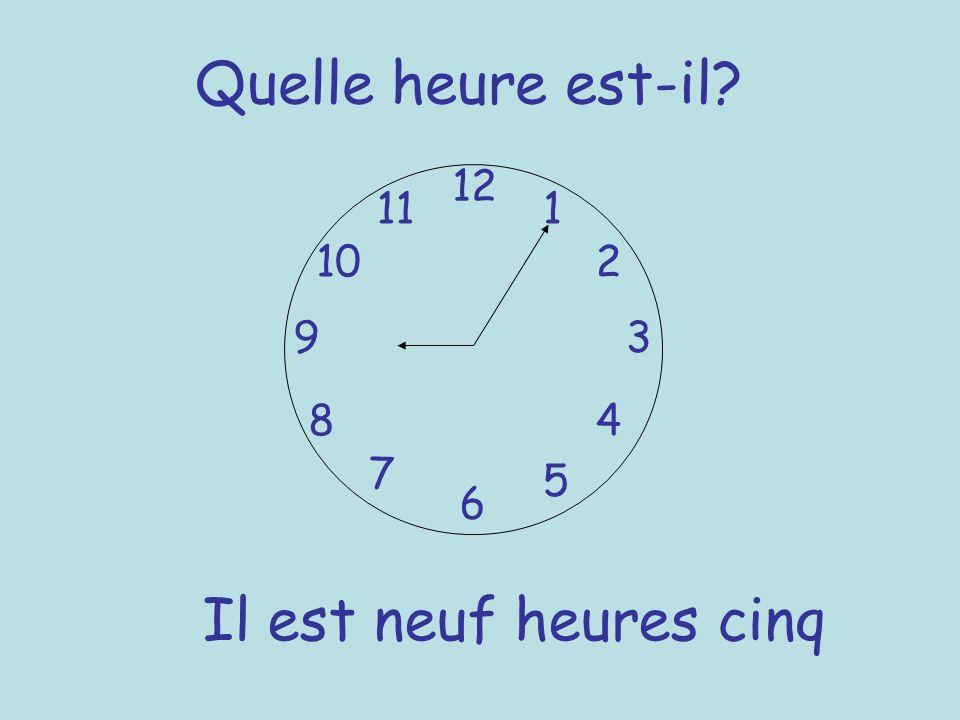 Quelle heure est-il Il est neuf heures cinq 12 11 1 10 2 9 3 8 4 7 5