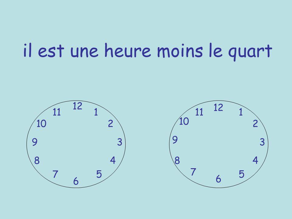 il est une heure moins le quart