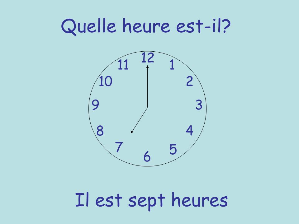 Quelle heure est-il 12 11 1 10 2 9 3 8 4 7 5 6 Il est sept heures