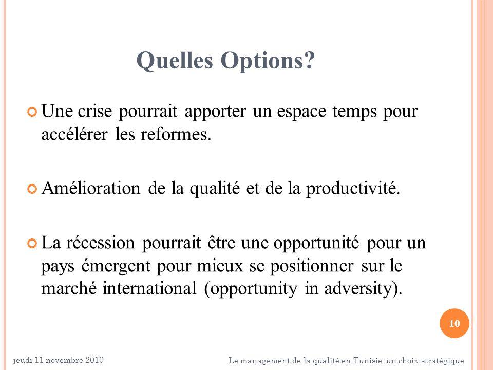 Quelles Options Une crise pourrait apporter un espace temps pour accélérer les reformes. Amélioration de la qualité et de la productivité.