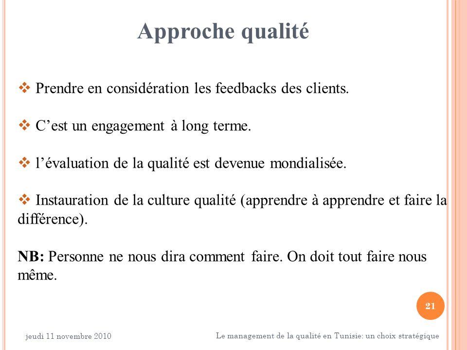 Approche qualité Prendre en considération les feedbacks des clients.